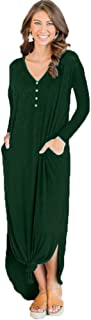 QUNNDY Women's Casual Loose Button Long Dress Long Sleeve Split Maxi Dresses with Pocket
