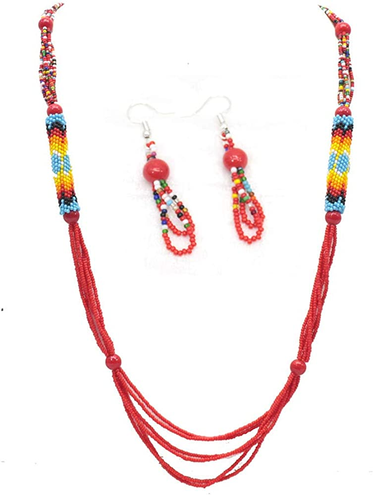 Handmade Native Style Red Seed Beads Beaded Necklace Earrings Set S-39-SB-13