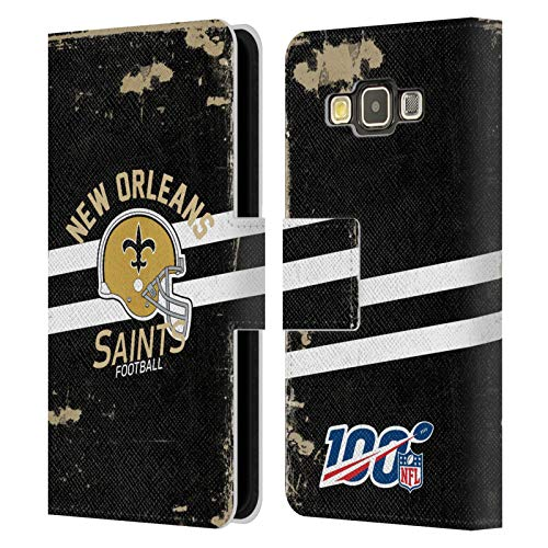 Head Case Designs Oficial NFL Casco Distressed Look 100th 2019/20 Santos de Nueva Orleans Carcasa de Cuero Tipo Libro Compatible con Samsung Galaxy A3