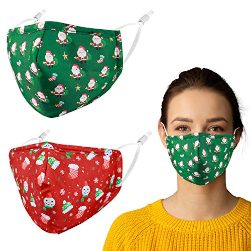 Reusable Washable Cloth Face Mask Women Men Adult Winter Designer Fashion Funny Cute Santa Christmas Cotton Fabric Adjustable Nose Wire Ear Loop Breathable Polyester Madks cubre bocas, Gift For Female