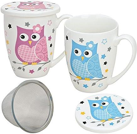 Preisvergleich für matches21 Teetassen Teebecher Eule mit Deckel & Teesieb 2-tlg. Set in pink & blau aus Porzellan gefertigt, je 10 cm hoch / 300 ml