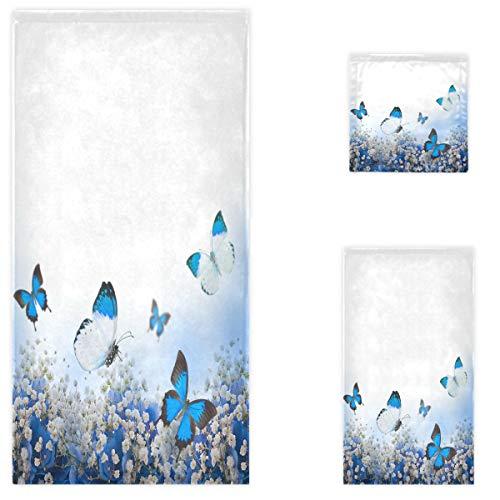 Naanle Schöne Frühlingsblumen Schmetterling weich Luxus dekoratives Set von 3 Handtüchern, 1 Badetuch + 1 Handtuch + 1 Waschlappen, Mehrzweck für Badezimmer, Hotel, Fitnessstudio, Spa und Strand