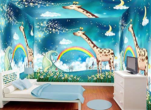 Fototapete Regenbogen Giraffe 150x105 cm Vlies Premium Kunstdruck Fleece Wandbild Dekoration Poster Bild Design Moderne Naturlandschaft