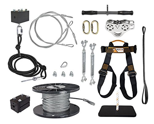 Ziplinegear 300' Ultimate Torpedo Zip Line Kit with Trolley Stainless Steel