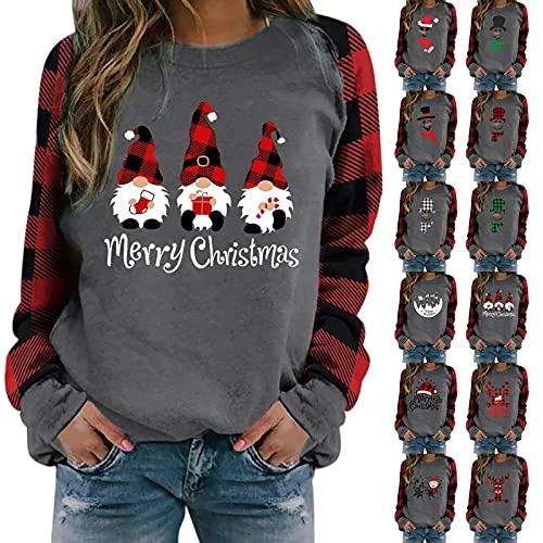 Covermason Pull à col Rond Sweatshirt pour Femme,Femmes Noël Impression Sweat-Shirt Top Col Rond Sweats à Manches Longues T-Shirt Mode Décontracté Pull (01#Rouge, S)