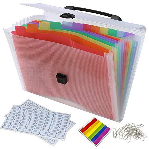 DARUITE Dokumentenmappe A4 Wasserdichte 13 Fächer Bunt Fächermappe zum Abheften Erweiterbare Ordnungssystem mit Deckel Gummizug