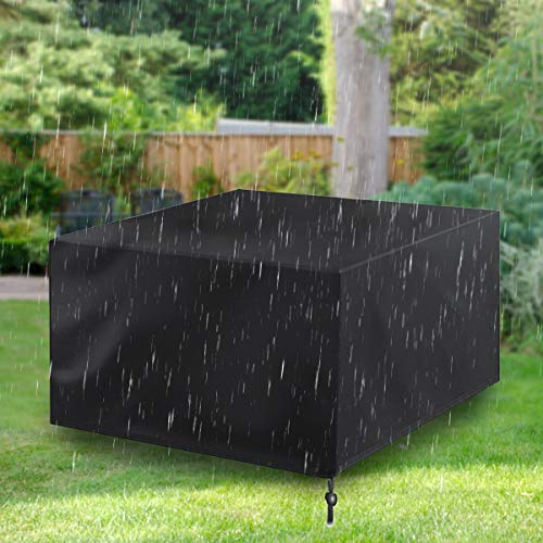 Garden Furniture Cover, Patio Furniture Covers Waterproof, Outdoor Table Covers with Windproof Drawstring 420D Heavy Duty Oxford Fabric Rattan Furniture Cover Anti-UV Snow Protection 126x126x74cm