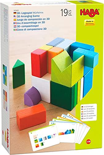 HABA 305463 - 3D-Legespiel Würfelmix, Holzspielzeug zum Legen und Stapeln, 19 Holzbausteine, 10 Vorlagekarten zum Nachbauen, Spielzeug ab 3 Jahren