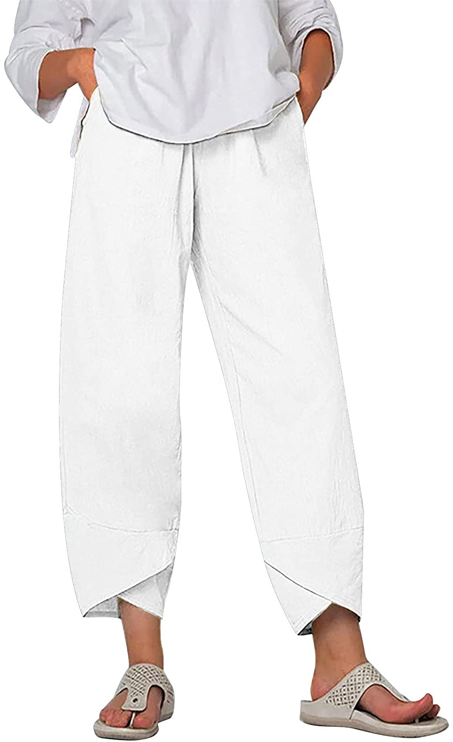 MASZONE Capris Pants for Women Casual Summer Solid Color Cropped Harem Pants Elastic Waist Wide Leg Trousers with Pocket