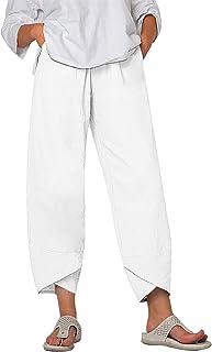 Lovely Nursling Summer Pants for Women Casual Pockets Cotton Linen Wide Leg Drawstring Elastic Waist Capris Crop Pants