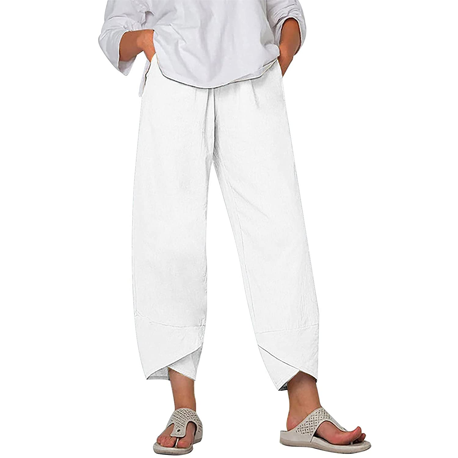 Padaleks Cotton Linen Pants for Women Wide Leg Baggy Tapered Cropped Trousers Summer Lounge Bottoms with Pocket