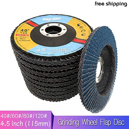 Great Deal! Xucus 10Pcs 40/60/80/120 Grit Grinding Wheel Flap Disc 115mm 4.5 Angle Grinder Sanding ...