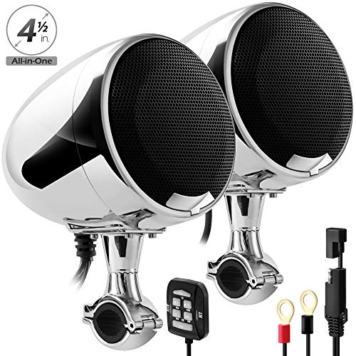 """GoHawk AN4-X 600W All-in-One Built-in Amplifier 4.5"""" Full Range Waterproof Bluetooth Motorcycle Stereo Speakers Audio Amp System w/AUX for 7/8 to 1.25"""" Handlebar Harley Cruiser Can-Am ATV RZR Polaris"""