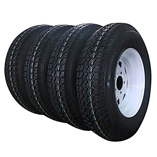 Set of 4 Trailer Tires & Rims 13' White Spoke Trailer Wheel with bias ST175/80D13 Tire Mounted (5x4.5) bolt circle