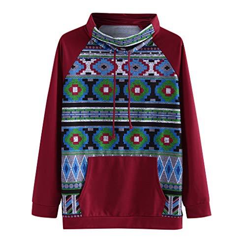 Zegeey Damen Sweatshirt Langarm Drucken Rollkragen Vintage LäSsige FrüHling Herbst Winter Pullover Oberteil Tops Shirts Outwear Mit Tasche(Wein,34 DE/XS CN)