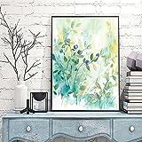Póster de lienzo, árboles de primavera, paisaje con brotes, imagen de vida verde abstracta, decoración artística del hogar para sala de estar, 60x80cm sin marco