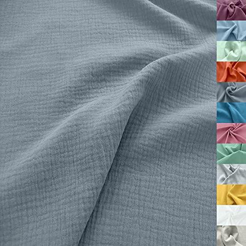 TOLKO Musselin Stoff Meterware | Baby weicher ÖkoTex Baumwollstoff | Kleid Bluse Tuch Decke Tagesdecke Bettwäsche | Double Gauze 130cm breit Nähstoffe Baumwollstoffe uni Dekostoff 50cm (Grau)