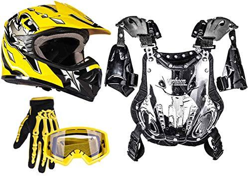 Typhoon Youth Dirt Bike Motocross ATV Helmet Gloves Goggles Chest Protector Combo Yellow (XL)