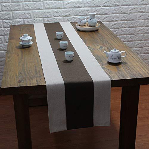DSDD Camino de Mesa de Centro de Catering de Lino de algodón Moderno Europeo Tapiz y borlas Color café 30x200cm
