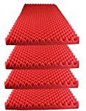 Foamily Red Acoustic Foam Egg Crate Panel Studio Foam Wall Panel 48' X 24' X 2.5' (4 Pack)
