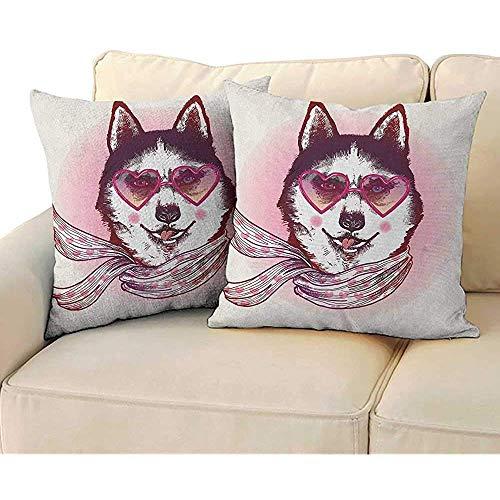 K.e.n Cartoon, Kussensloop Hipster Husky Hond met Hartjes Zonnebril en Sjaal Mode Dier Art Print 2st Kussen Sofa Taille Kussens Cover Roze Crème Zwart