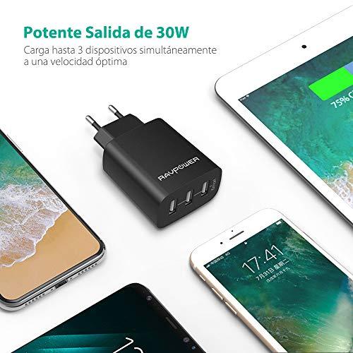RAVPower Cargador Móvil con 3 Puertos USB (30W 5V/6A) Máxima de 2 ...