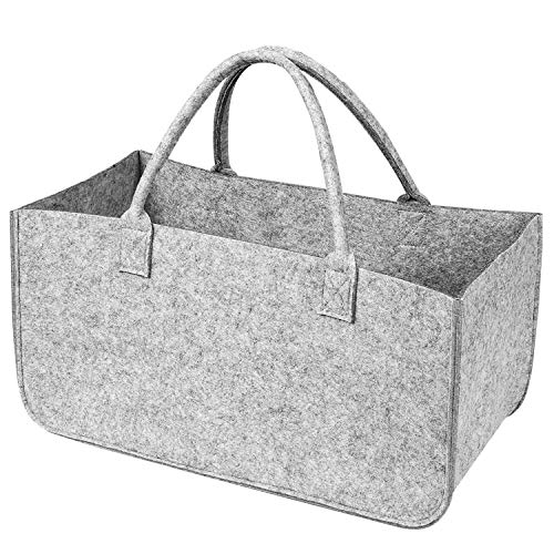 Xingsky Bolsa de Fieltro,Cesta Leña para Guardar Leña,Reutilizable Bolsa Fieltro Plegable para Madera, Periódicos y Juguetes, Bolsa de la Compra (Gris)