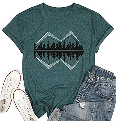 Lake Shirts Women Funny Mountain Graphic Tee Outdoor Camping T Shirt Casual Short Sleeve Hiking Tee Tops Green
