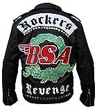 The Jasperz Men's George Micheal BSA Faith Rockers Revenge Black Biker Cordura Fabric Jacket