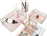 AKUKA Metal Storage Baskets, Rose Gold 4 Pack Mesh Wire Basket Set Iron Hollow Makeup Brush Holder Multi Purpose Desktop Organizer for Bedroom Bathroom Living room Office