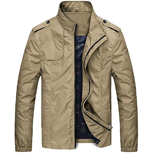 NOBRAND Frühling und Herbst Dünne Herren Jacke Vertikaler Kragen Jacke Jugendliche Casual Large Windbreaker Herren Mantel Gr. L, khaki