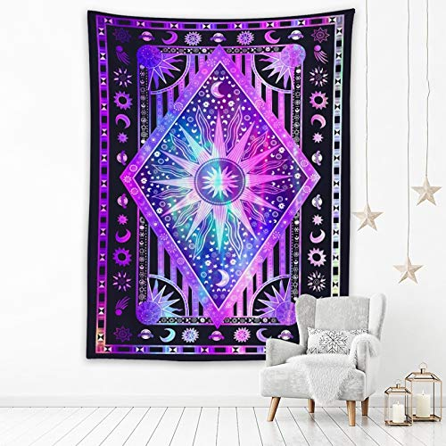 KHKJ Astrología tótem psicodélico Tapiz Mandala Colgante de Pared Hippie Luna Sol hogar Decorativo Celestial adivinación brujería A5 200x150cm
