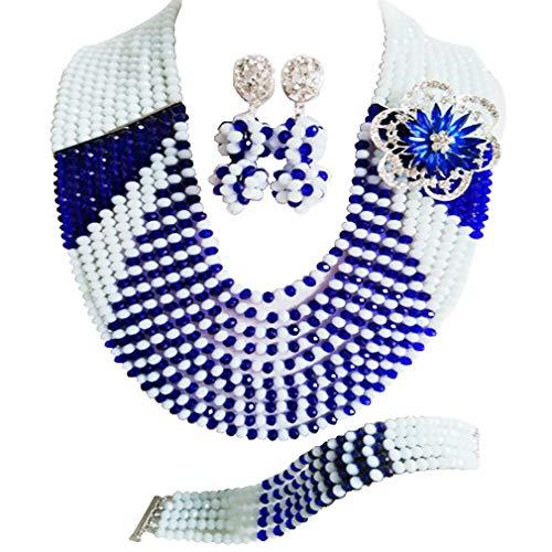 laanc 10Línea Azul y blanco de Nigeria Collar Pulsera De Perlas De África pendientes boda fiesta joyería Set