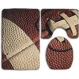 Aubrdon Motif de Ballon Motif de Rugby Imprimer Tapis de Tapis de Salle de Bain Set 3 pièces, Tapis de Bain + Housse de siège de Toilette + Tapis de Contour
