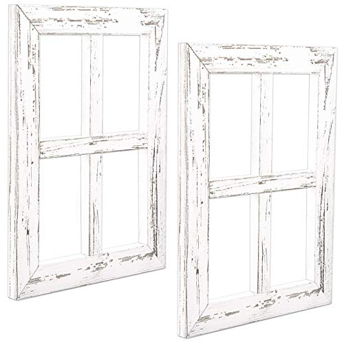 Ilyapa Window Frame Wall Decor 2 Pack - Rustic White Wood Window Pane Country Farmhouse Decorations