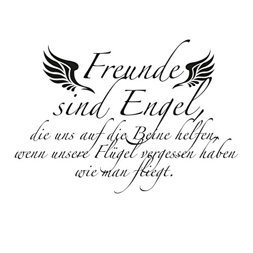 WANDKINGS Wandaufkleber Wandtattoo - 50 x 35 cm - Spruch Freunde sind Engel, die Uns auf die Beine helfen, …