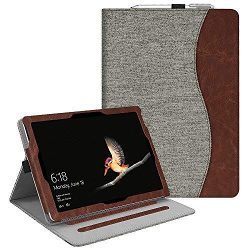 Fintie Microsoft Surface Go Hülle - Multi-Winkel Betrachtung Kunstleder Schutzhülle Etui Cover Case mit Dokumentschlitze & Stylus-Halterung für Surface Go (10 Zoll) 2018 Tablet-PC, Denim grau