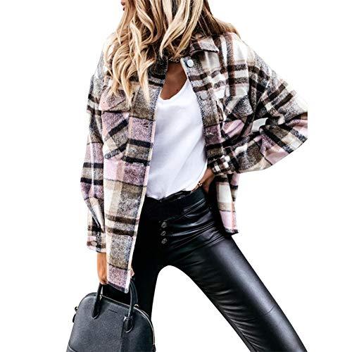 ISAKEN Damen Karierte Hemdjacke mit Knöpfen Holzfällerjacke Mantel Oversized Bluse Langarm Karohemd Kariertes Hemd Hemdbluse Frauen Mode Boyfriend Jeansjacke