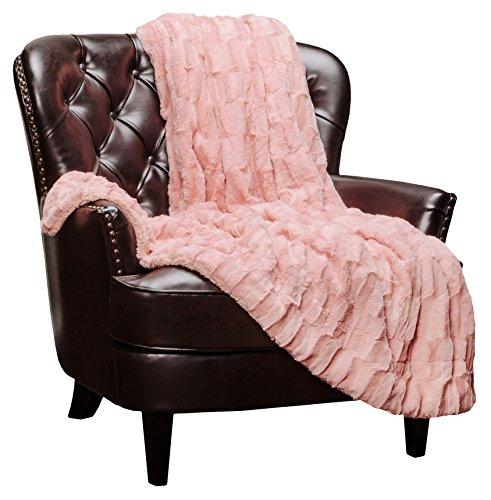 Chanasya Fuzzy Faux Fur Elegant Rectangular Embossed Throw Blanket - Plush Sherpa Microfiber Peach Blanket for Bed Couch (50x65 Inches) Peach