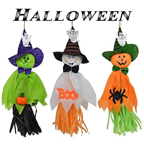 WingFly Decorazioni Fantasma di Halloween, Spaventapasseri Decorazioni Giardino Ornamento per Halloween Decorazione Mall Bar Decorazione, Piccoli Impiccagioni di Fantasmi (3 pc)