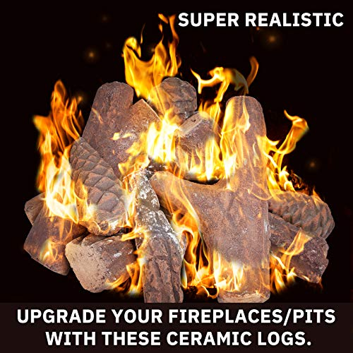 GASPRO 10 Piece Gas Fireplace Logs, Small Size Ceramic Fireplace Logs for All Types Fireplace and Fire Pit - Gas, Insert, Ventless, Vented, Electric