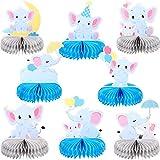 Blulu 8 Centros de Mesa de Panal de Elefante Pequeños Recortes de Maní Decoraciones de Fiesta Tema de Elefante para Suministros de Fiesta Boda Baby Shower Cumpleaños(Azul)