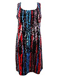 Sleeveless Multi Color Sequin Sheath with Scoop Neck Dress