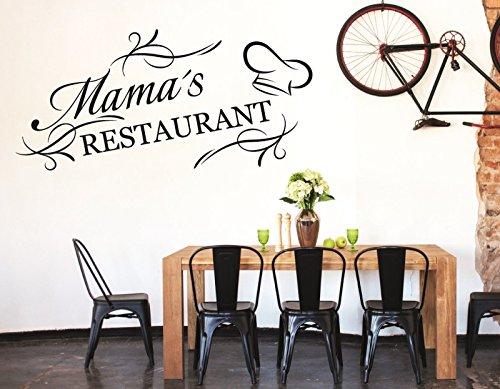 tjapalo® S-pkm86 Wandtattoo Küche Wandaufkleber kochen Esszimmer Spruch Mama's Restaurant (B58 x H28 cm)