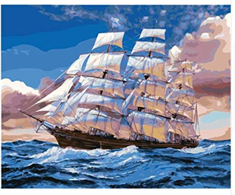 Superlucky Seascape DIY Malen nach Zahlen auf Leinwand Wandkunst Färbung Färbung Färbung von Zahlen Home Decor für Wohnzimmer Wand Mit Rahmen 40x50cm B07J24K4MP   Moderner Modus  9d6ec9