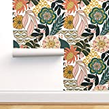 Spoonflower Peel and Stick Removable Wallpaper, Bohemian Tropical Leaves Floral Pattern Boho...