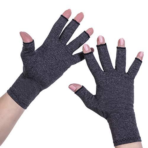 Kompressionshandschuhe Mit Offenen Fingern – Arthritis-Handschuhe für Damen und Herren – Perfekt zur Linderung von Arthritis-Symptomen Karpaltunnelsyndrom – von Sandine (Schwarz, L)