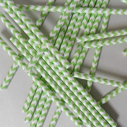 Aardvark Green Chevron Striped Paper Drinking Straws (Qty of 100 - Made in USA)