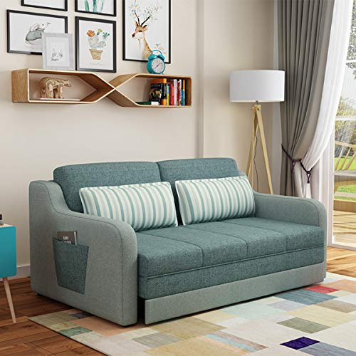 SND-A 3-In-1 Convertible Sofa Bed, Fabric Nordic Folding Multifunctional Double Lazy Living Room Couch Sofa Bed, Suitable for Apartment Bedroom Furniture,green,1.96M