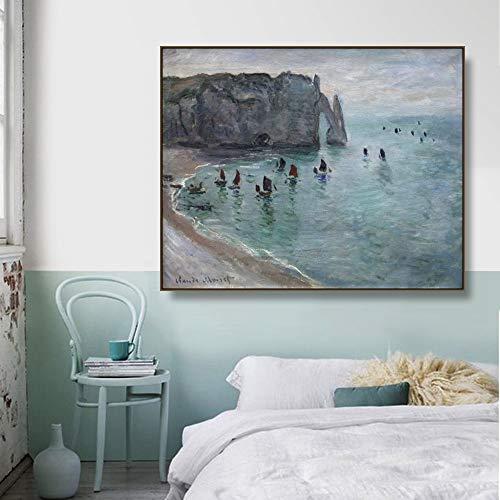 Cartel de acantilados de Etretat de Monet Mural impreso lienzo pintura caligrafa decoracin sala de estar pintura decorativa sin marco P25 40x60cm